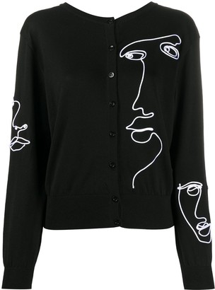 Moschino V-back embroidered cardigan