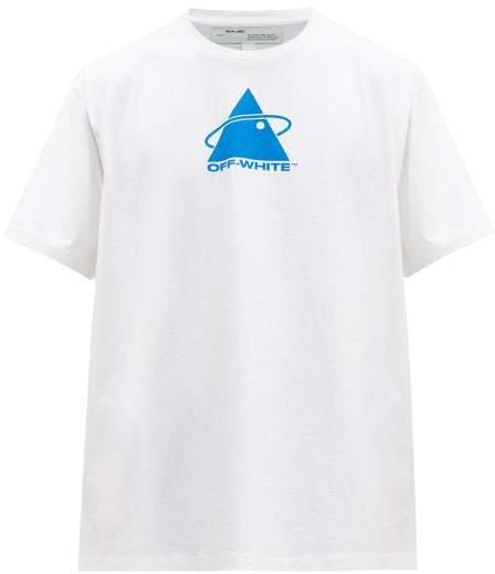 Off-White Off White Triangle Planet Print Cotton T Shirt - Mens - Blue White