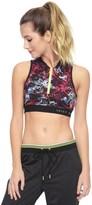 Juicy Couture Sport Gridded Floral Front Zip Crop Top
