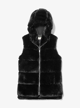MICHAEL Michael Kors MK Faux Fur Hooded Vest - Black - Michael Kors