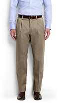 Lands' End Men's Long Pleat Front Traditional Fit No Iron Twill Dress Pants-French Walnut Heather