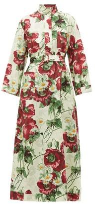 Gucci Poppy-print Cotton-poplin Midi Dress - Womens - Ivory Multi