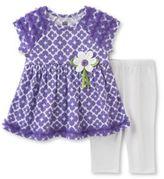 Kids Headquarters Two-Piece Printed Dress and Capri Pants Set