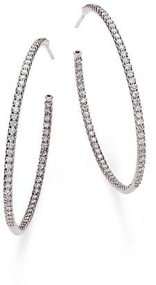 """Roberto Coin 1.4 TCW Diamond & 18K White Gold Inside-Outside Hoop Earrings/1.75"""""""