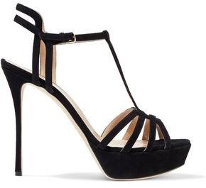 Sergio Rossi Ines Cutout Suede Platform Sandals