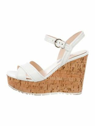 Prada Patent Leather Slingback Sandals White