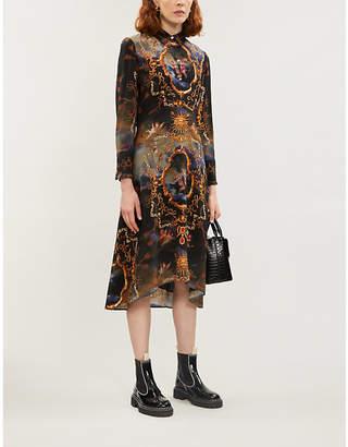 Claudie Pierlot Graphic-print silk-satin dress