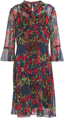 Anna Sui Gathered Floral-print Georgette Shirt Dress