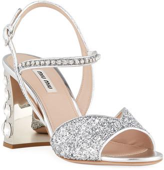 Miu Miu 85mm Metallic Glitter Mirrored-Heel Sandals