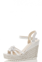 Quiz Silver Shimmer Rose Hessian Wedges