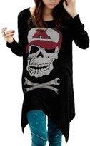 Allegra K Women Skull Cut Out Back Long Sleeve High Low Hem T Shirt S