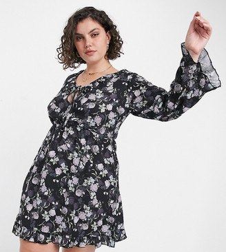 Yours flared sleeve floral mini dress in navy