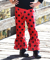 Beary Basics Red & Black Polka Dot Ruffle Pants - Infant Toddler & Girls
