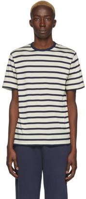 Sunspel Off-White and Navy Breton Stripe T-Shirt