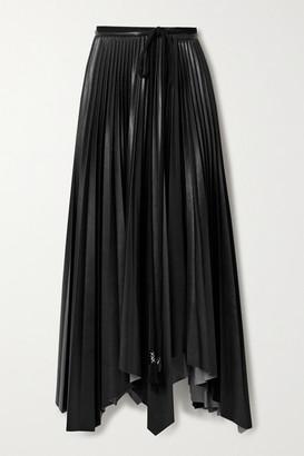Nanushka Beeja Asymmetric Pleated Vegan Leather Wrap Skirt - Black
