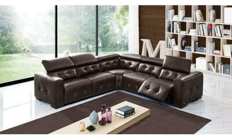 Orren Ellis Bulkley Symmetrical Leather Reclining Sectional Upholstery Color: Chocolate Brown