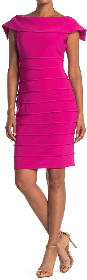 Marina Cap Sleeve Shutter Pleat Sheath Dress