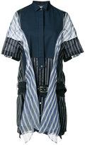 Sacai striped panelled dress - women - Silk/Cotton/Polyester/Cupro - 4