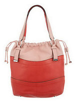 B. Makowsky As Is Pebble Leather Drawstring Shopper