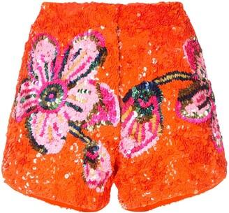 Manish Arora floral pattern sequin shorts