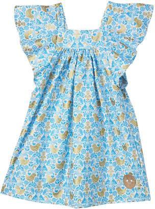 Smiling Button Golden Chickadee Flutter Sleeve Dress, Size 7-10