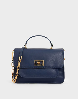 Charles & Keith Large Resin-Effect Buckle Bag
