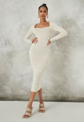 Missguided Cream Sweetheart Textured Knit Midaxi Dress