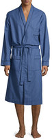Neiman Marcus Check Robe with Piping, Navy