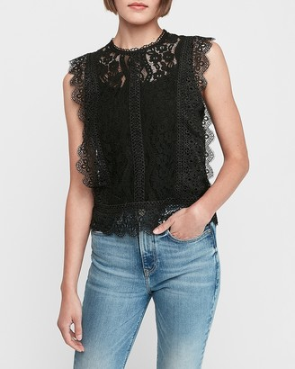 Express Lace Crew Neck Shell Top