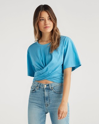 7 For All Mankind Twist Tee in Cobalt Blue