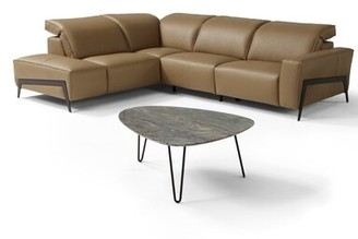 Orren Ellis Norwell Leather Reclining Sectional Upholstery Color : Honey, Orientation: Left Hand Facing