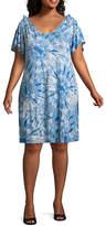 Spense Short Sleeve Tie Dye Shift Dress-Plus