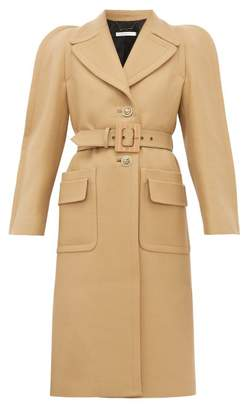 Givenchy Exaggerated-shoulder Belted Wool-blend Coat - Womens - Camel