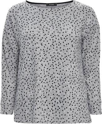 Evans Grey Polka Dot Print Soft Touch Top
