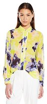 Ellen Tracy Women's Piped Button Front Blouse