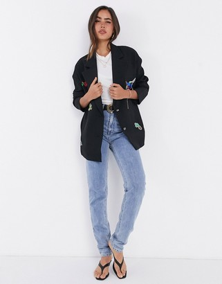 Liquorish oversized blazer with patches in black