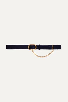 Rag & Bone Wingman Chain-embellished Calf Hair Belt - Navy
