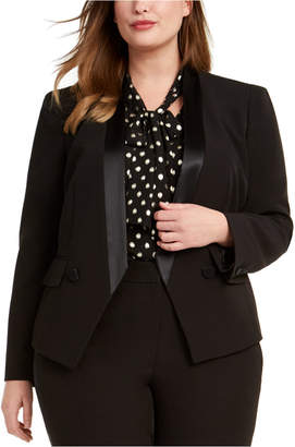 Bar III Trendy Plus Size Tuxedo Satin-Trim Blazer
