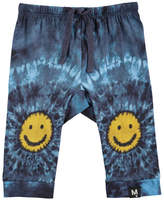 Molo Sabble Tie-Dye Soft Pants w/ Smiley Face Knees, Size 6-24 Months