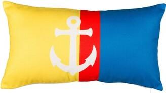 "Rogan Anchor on Stripes Cotton Lumbar Pillow Highland Dunes Size: 12"" x 16"""