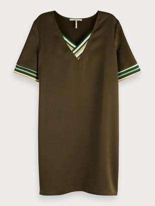 Maison Scotch Silky V Neck Dress - XS / 0360 - Military