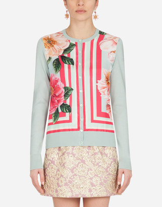 Dolce & Gabbana Camellia-Print Silk And Twill Cardigan
