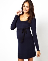 Mama Licious Mamalicious Long Sleeve Knitted Dress With Contrast Belt