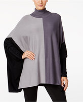 Alfani Petite Colorblocked Turtleneck Poncho, Only at Macy's