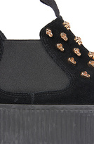 Jeffrey Campbell The Rover Skull in Black Suede and Gold Skull