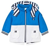 Mayoral Blue Hooded Parka with Stripe Lining and Detachable Hood
