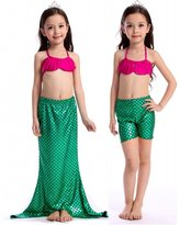 Alaroo Girls 3 Pieces Mermaid Princess Tail Bikini Bathsuit Swimsuit Swimwear