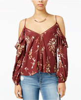 Astr Chantal Printed Cold-Shoulder Top