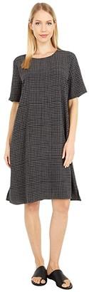 Eileen Fisher Round Neck Short Sleeve Boxy Dress (Bark) Women's Dress