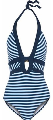 Jets Cutout Striped Halterneck Swimsuit